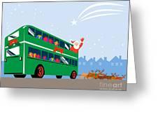 Santa Claus Double Decker Bus Greeting Card