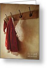 Santa Costume Hanging On Coat Rack Greeting Card