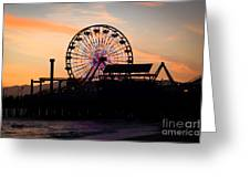 Santa Monica Pier Ferris Wheel Sunset Greeting Card by Paul Velgos