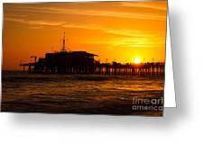Santa Monica Pier Sunset Greeting Card