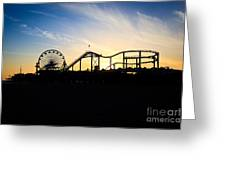 Santa Monica Pier Sunset Photo Greeting Card by Paul Velgos