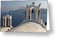 Santorini Churches Greeting Card