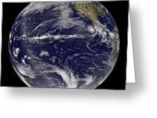 Satellite Image Of Earth Centered Greeting Card by Stocktrek Images