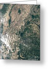 Satellite Image Of Flood Waters Greeting Card