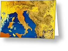 Satellite Image Of Italy Greeting Card