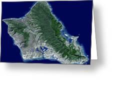 Satellite Image Of Oahu, Hawaii Greeting Card