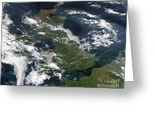 Satellite Image Of Smog Over The United Greeting Card