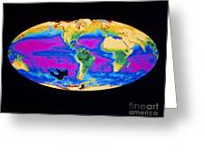 Satellite Image Of The Earths Biosphere Greeting Card
