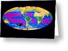 Satellite Image Of The Earth's Biosphere Greeting Card by Dr Gene Feldman, Nasa Gsfc