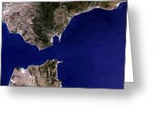 Satellite Image Of The Strait Of Gibraltar Greeting Card