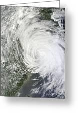 Satellite Image Of Tropical Storm Muifa Greeting Card