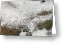 Satellite View Of A Severe Winter Storm Greeting Card