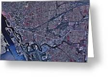 Satellite View Of Buffalo, New York Greeting Card