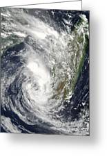 Satellite View Of Cyclone Giovanna Greeting Card