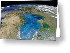 Satellite View Of Swirling Blue Greeting Card