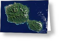 Satellite View Of Tahiti Greeting Card
