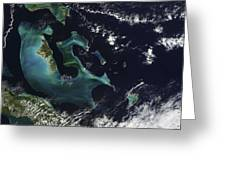 Satellite View Of The Bahama Islands Greeting Card