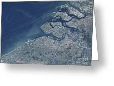 Satellite View Of The Belgium Coastline Greeting Card