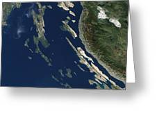 Satellite View Of The Croatian Islands Greeting Card