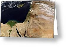 Satellite View Of The Middle East Greeting Card