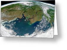Satellite View Of The Ob And Yenisei Greeting Card
