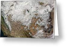 Satellite View Of The Western United Greeting Card