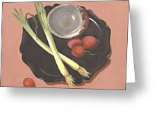 Scallions And Radishes Greeting Card