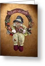 Scarecrow On Autumn Wreath Greeting Card by Linda Phelps