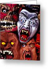 Scary Halloween Masks Greeting Card