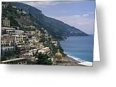 Scenic View Of The Beach And Hillside Greeting Card