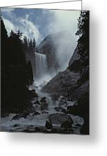 Scenic View Of Vernal Fall Greeting Card