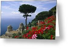 Scenic View Of Villa Rufolo Terrace Greeting Card