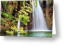 Scenic Waterfall In Autumn Greeting Card
