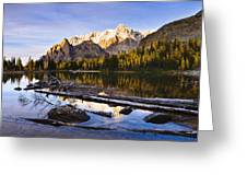 Schaffer Lake And Mount Huber Greeting Card