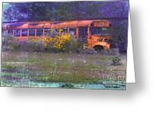 School Bus Out To Pasture Greeting Card by Judi Bagwell