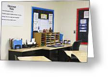 School Teachers Desk Greeting Card