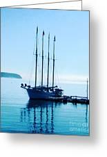 Schooner At Dock Bar Harbor Me Greeting Card
