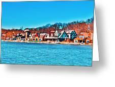 Schuylkill Navy Boat House Row Greeting Card