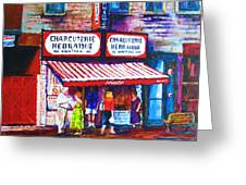 Schwartz's Deli With Lady In Green Dress Greeting Card