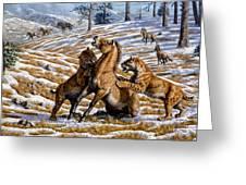 Scimitar Cats Attacking A Horse Greeting Card