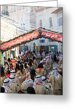 Scouts Marching During Christmas Parade In Bethlehem Greeting Card