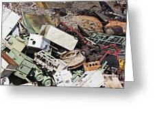 Scrap Metal In Scrap Yard Greeting Card by Jeremy Woodhouse