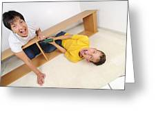 Screaming Mother And Son Assembling Furniture Greeting Card