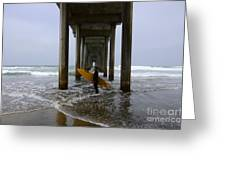 Scripps Pier Surfer 2 Greeting Card by Bob Christopher