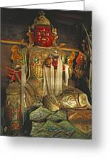Sculpture Of Wrathful Protective Deity Greeting Card by Gordon Wiltsie