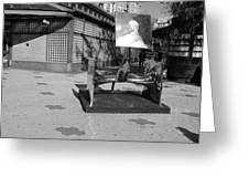 Scuptures On The Corner In Black And White Greeting Card