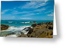 Sea Landscape With Beach Coast Rocks And Blue Sky Greeting Card