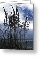 Sea Oats On Tybee Greeting Card by Leslie Revels Andrews