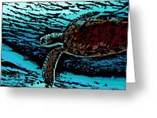 Sea Turtle Swimming Greeting Card