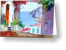 Sea View Greeting Card by Kostas Dendrinos